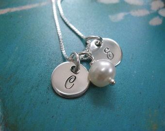 Personalized Hand Stamped Sterling Silver Necklace Itty Bitty Initials