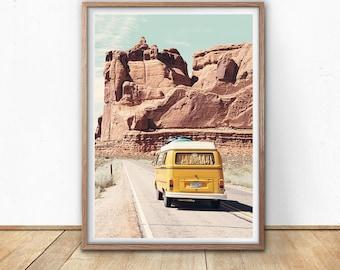 Retro Van Wall Art, Arizona Desert, Digital Download, Road Trip, Explore Print, Vintage Vehicle, Boho Art, Nursery Wall Art, Car Poster