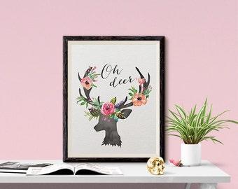 Instant Download Oh Deer Antlers Pastel Flowers 8x10 inch Poster Print - P1208