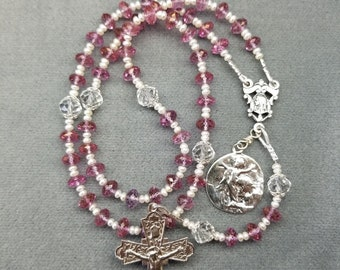 Pink Topaz Rosary with Pearls and Crystal Our Fathers Sterling Silver Handmade