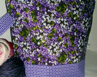 Large WIP Zipper Project Bag, Wedge Bag, Purple Lilacs on Vines, Springtime Zippered Project Bag, Knitting bag, Zipper