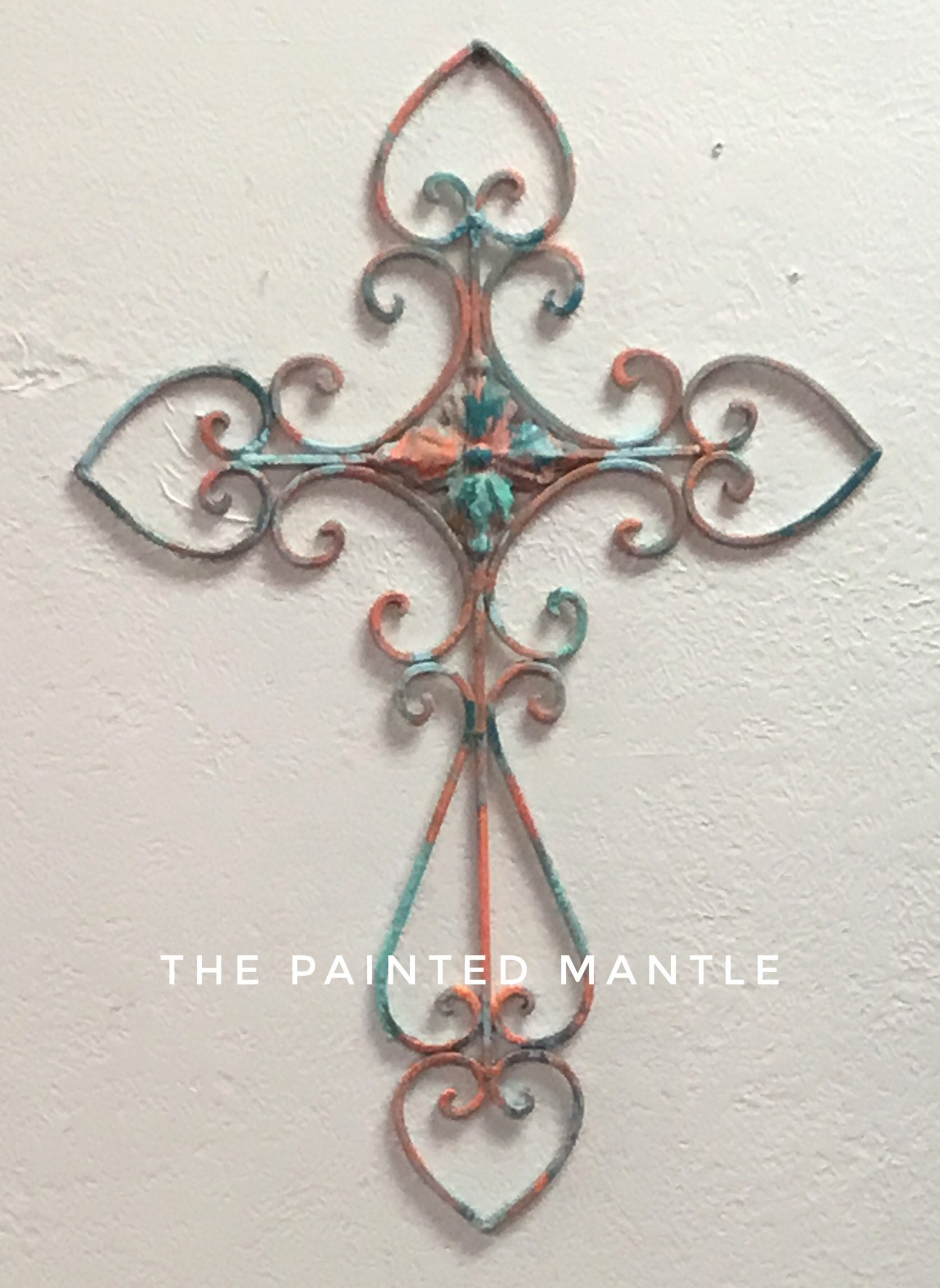 Decorative Cross / Wall Cross / Home Decor / Wall Hanging / Coral / Aqua /  Turquoise / Faith / Metal Wall Art / Metal Cross / Gallery Wall
