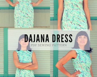 Dajana Dress PDF sewing pattern and sewing tutorial for women with a printable pdf sewing pattern and tutorial, in women sizes from 4 to 22