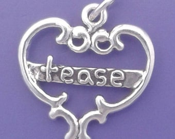 TEASE HEART Charm .925 Sterling Silver Pendant - lp4178