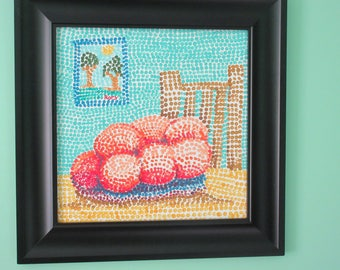 "Fruit Bowl and Chair -- a 12"" X 12"" painting by Rory, an artist with autism"