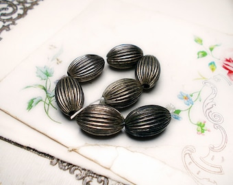 Vintage Hollow Oxidized Metal Beads | 7 Silver Tone Ribbed Tapered Oval Barrel  | 10mm x 16mm | 1980s Metal Beads | Lightweight Tarnished