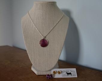 Tiptoe Circle, real pressed tulip necklace