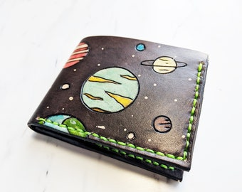 Leather wallet / Space wallet / gift for him / Planets wallet /fathers day gift