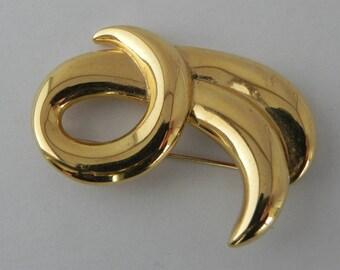 Napier Swirl Brooch, Gold Tone, Vintage, Curl Pin