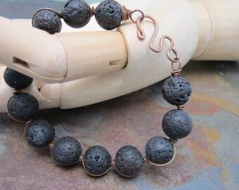 Men or Women's Black Lava Bracelet, Marta Weaver Jewelry