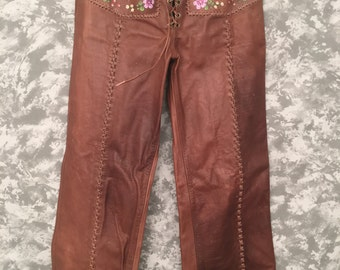70's CHAR (Made in Mexico) Painted Leather Pants