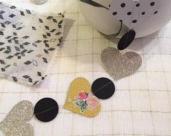 Glitter Valentine hearts Garland