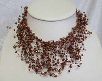 "Brown ""illusion"" necklace CCS171"