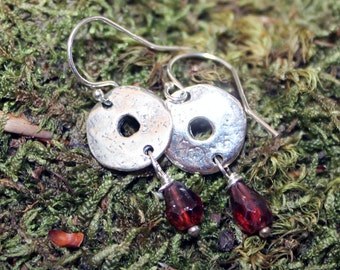 Earrings Artisan Sterling Silver and Garnet