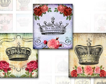 Vintage inspired royal crowns digital collage sheet pedant size scrabble tile 0.78x0.83 inches  (322) Buy 3 - get 1 free