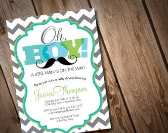 Printable Digital Oh Boy Mustache Baby Shower Invitation, little man invitation, chevron invitation, mustache invite, mustache bash invite