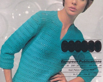 PDF crochet jumper vintage crochet pattern pdf INSTANT English, French & German instructions download pattern only pdf