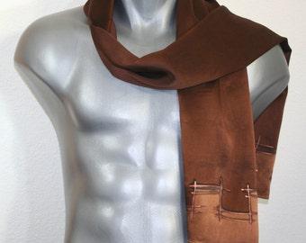 Unisex Silk Scarf. Men Women Hand Painted Scarf. Brown Handmade Silk Scarf EXECUTIVE CHOCOLATE 11x60. Valentine Gift. READY2Ship Immediately