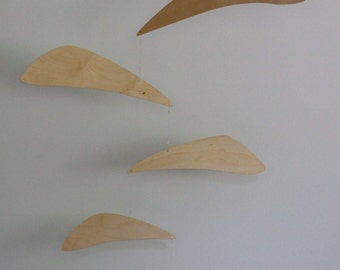 Wood mobile, Mid-century modern, large wood and metal Calder-style hanging mobile art