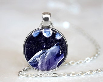 Glass Tile Necklace Wolf Necklace Silver Jewelry Silver Necklace Glass Tile Jewelry Moon Jewelry Animal Jewelry Wolf Jewelry