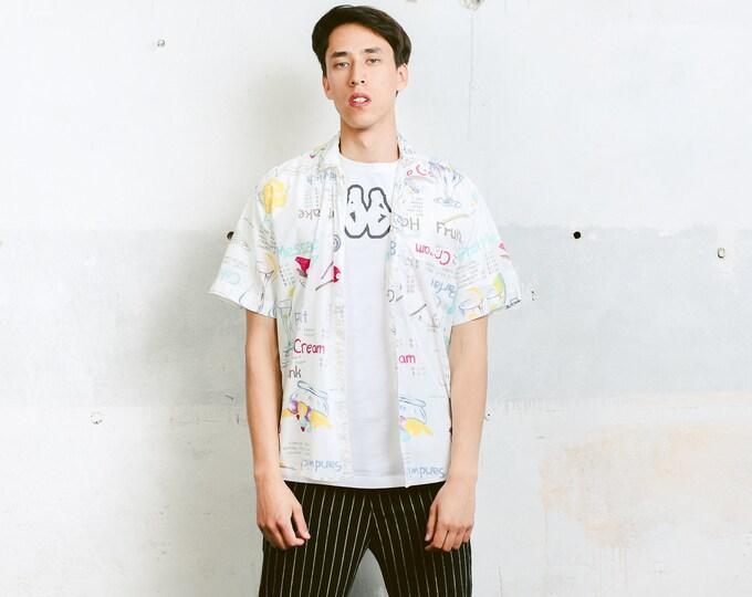 Novelty Print Vacation Shirt . 90s Vintage Men's Short Sleeve Novelty Print 90s Shirt Summer Shirt . size Medium M