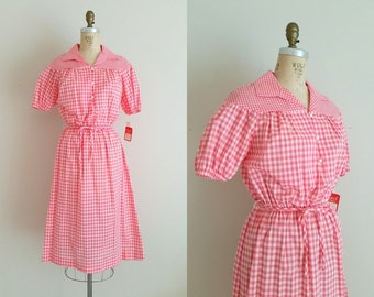 Vintage 1960s Red and White Gingham Dress / Cotton Day Dress / Picnic Dress / Small Medium / Tags Attached