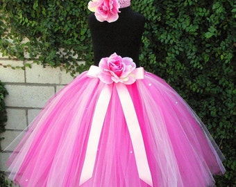 "Flower Girl Tutu Skirt for Weddings, Strawberry Dreams, Custom SEWN Pink Tutu, up to 20"" long, Tutu for girls, Photo props, birthdays"