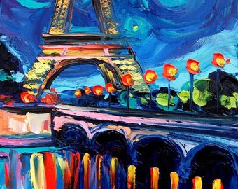 Eiffel Tower Paris landscape print reproduction by Aja Seine 8x10 inches