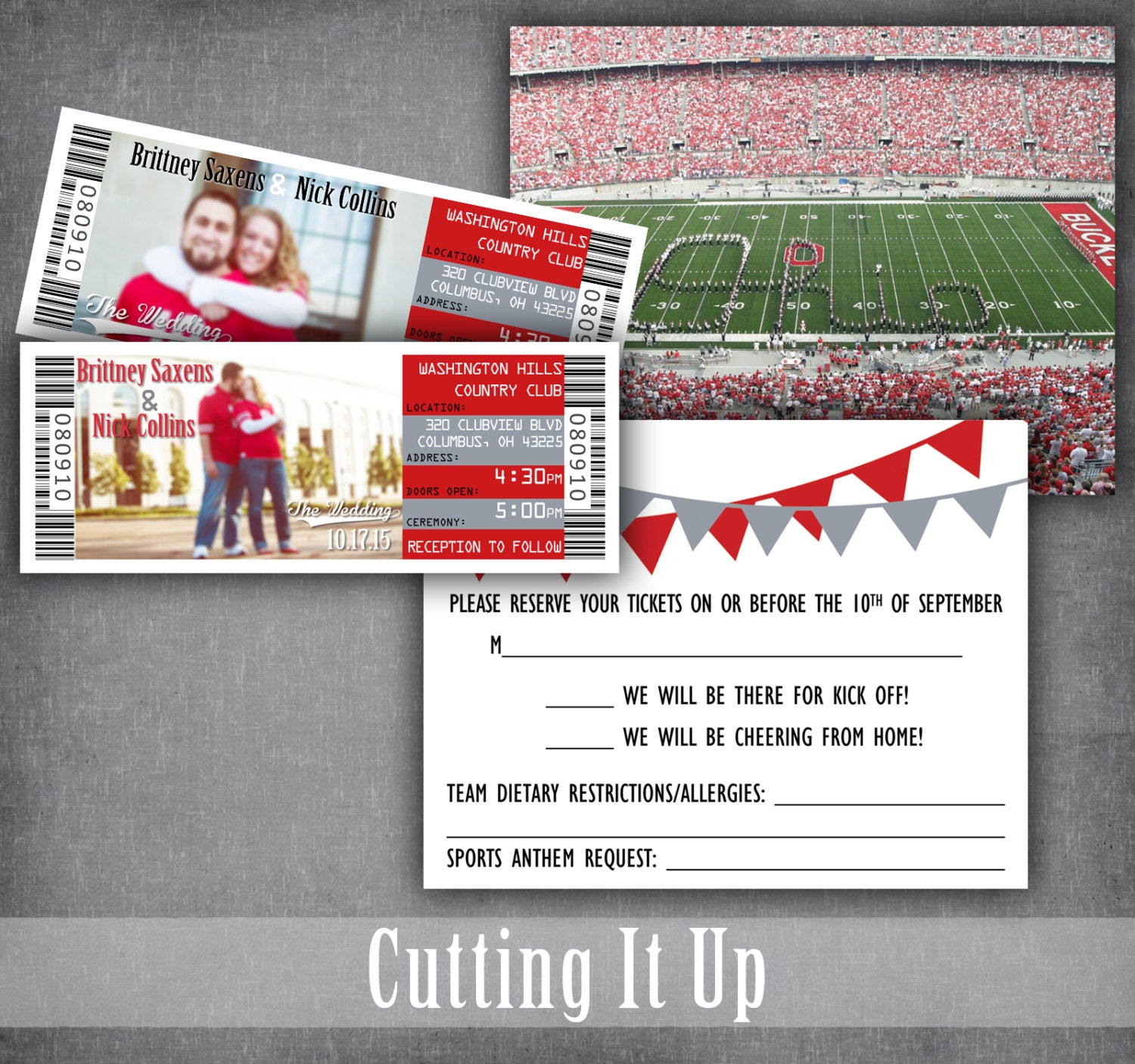 The Ohio State Football Wedding Ticket Invitations Sport