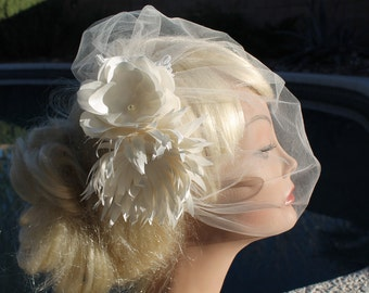 "Bridal Tulle  Blusher  Birdcage  Veil  12"" for your Wedding"