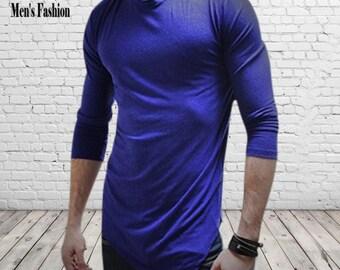 Mens shirt; Crew Neck ;Royal Blue; Mens shirt,  asymmetrical, Mens l blue pullover, Mens long sleeve shirt; mens tee shirts, mens basic tee