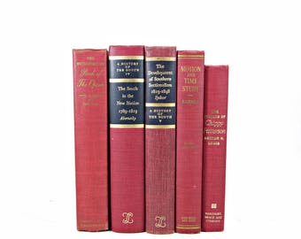 Raspberry Wine Antique BOoks,  Decorative Books, Red Burgundy Old Book Set, Vintage Books, Old Book Decor, Book Collection, Office Decor