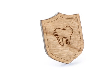 Tooth Lapel Pin, Wooden Pin, Wooden Lapel, Gift For Him or Her, Wedding Gifts, Groomsman Gifts, and Personalized