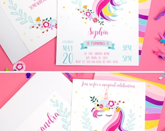 Unicorn Birthday Invitation Printable, Unicorn Invitation, Magical Invitation, Rainbow, Girl, Magical Unicorn Party, INSTANT DOWNLOAD