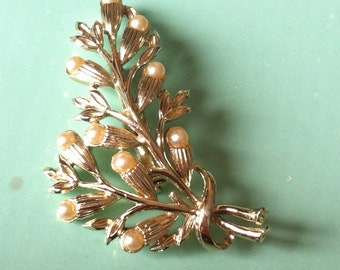 Beautiful 50s flower pearl stone brooch antique vintage brooch retro jewellery jewelry free postage