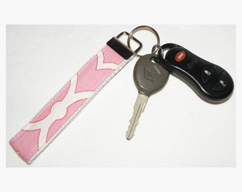 Recycled Canvas Pink and White Key Fob Wristlet on Heavy Duty White Webbing