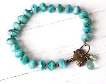 Turquoise Hand Knotted Bracelet, Aqua Bracelet, Beach Bracelet, Charm Bracelet, Bohemian Style, Boho Style, Stacking Bracelet