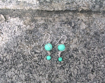 Sterling silver wire wrapped  Turquoise gemstone earrings