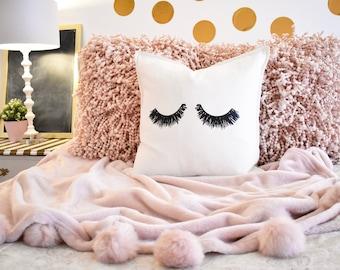 Eyelashes 20x20 Throw Pillow Cover / White / Oh So Francie