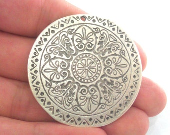 Silver Pendant Antique Silver Pendant Oxidized Silver Plated  Medallion  Pendants  (45 mm)   G12294
