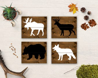 Woodland Animals Nursery, Woodland Nursery Set, Woodland Animals, Forest Nursery Decor, Rustic Nursery, Bear Art, Deer Art, Fox Art, Moose