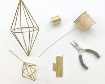 DIY Kit & Pattern: Geometric Hexagonal Bipyramid Himmeli - Holiday Ornament - Coffee Table Decor - Minimalist Brass Orb  - Airplant Mobile