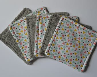 Set of 6 wipes washable dots triangles