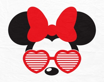 Disney, Mickey, Minnie, Mouse, Aviators Sunglasses, Heart shape, Ears, Digital, Download, TShirt, Cut File, SVG, Iron on, Transfer