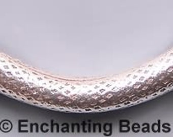 Karen Hill Tribe Silver Curved Bead T509 (1), SIlver Bead Long Bead 36mm (1.4in) Large Silver Bead Texture Silver Focal Bead Large Hole Bead