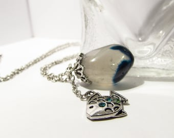 Ocean-like Stone & Fish Charm Necklace