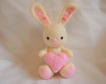 Crochet bunny with heart, Amigurumi bunny with heart, crochet rabbit, new baby gift, mothers day, bunny plushie