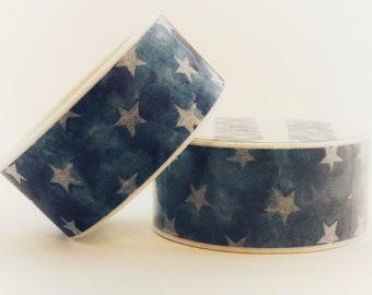 Rustic Stars washi tape - patriotic blue DIY crafts planners scrapbooks mail cute making - Lillibon