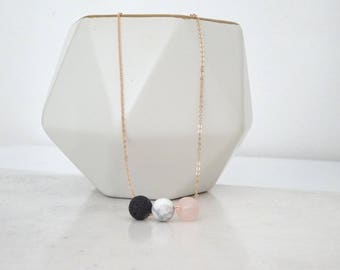 Diffuser necklace, Lava necklace, Rose Quartz and Marble Diffuser, Essential Oil jewelry, Aromatherapy necklace, Bridesmaid necklace