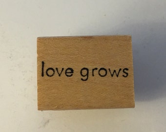 Memory Box Wood Mounted Rubber Stamp. Love Grows.